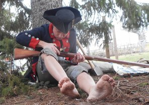 Revolutionary war soldier with musket
