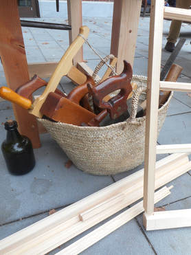 Basket of eighteenth-century woodworking tools
